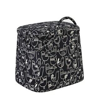 Portfolio Purse Storage Ottoman in Black Bird Design
