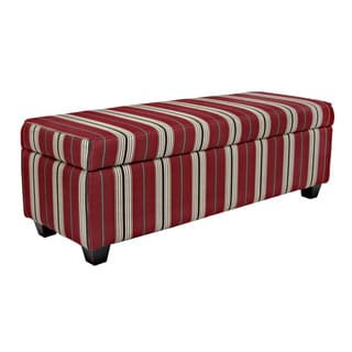 Portfolio Blane Red Stripe Storage Bench Ottoman
