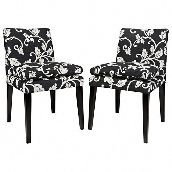 Better living orion black and white upholstered armless for Black and white upholstered dining chairs