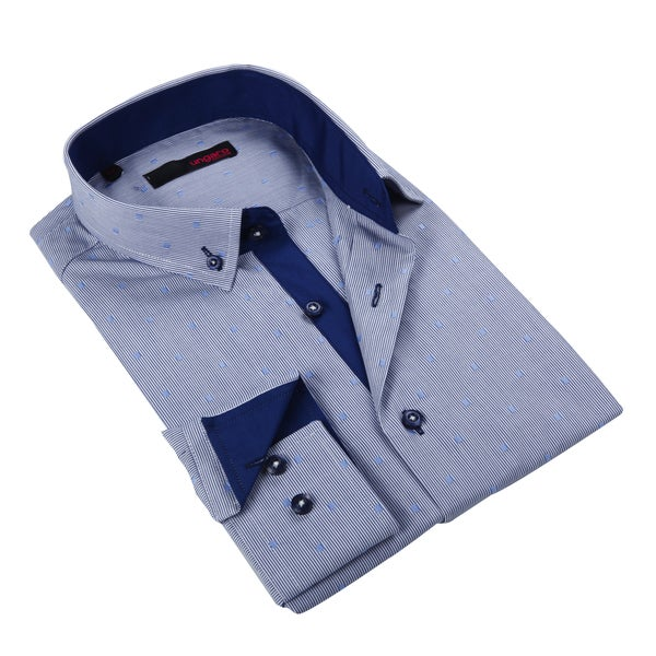 Ungaro Mens Stripe Blue Cotton Dress Shirt