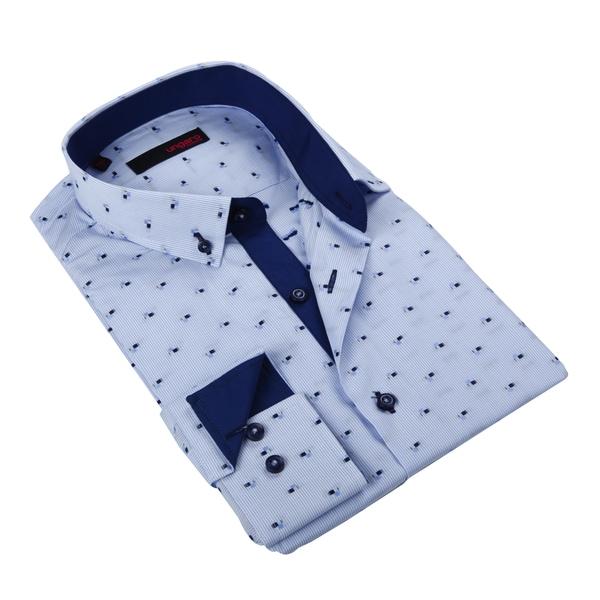 Ungaro Mens Stripe Blue/ White Cotton Dress Shirt