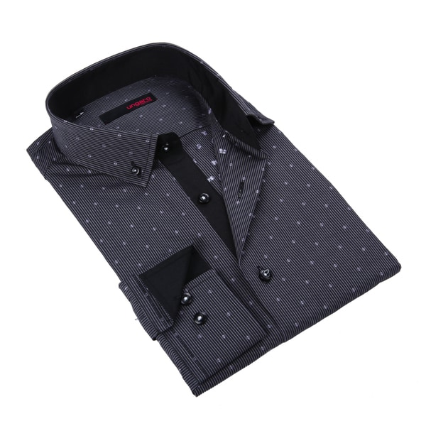 Ungaro Mens Stripe Black/ White Cotton Dress Shirt