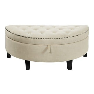 Heather Upholstered Natural-colored Storage Ottoman