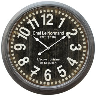 Yosemite Home Decor Cilcular Wall Clock Gray Iron Frame with Glass