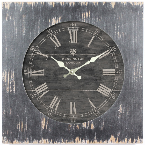 Square MDF Wall Clock Distressed Black Wooden Frame with Glass