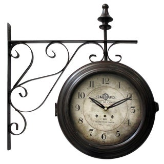 Double Sided Iron Wall Clock with Black Iron Frame
