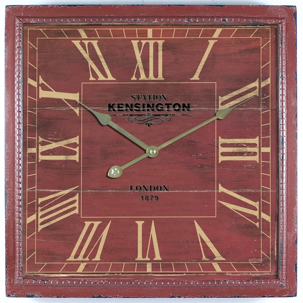 Square MDF Wall Clock Distressed Red Wooden Frame with Glass