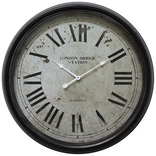 Circular Iron Wall Clock Black Distressed Iron Frame with Glass