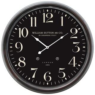 Circular Iron Wall Clock Black Distressed Iron Frame with Glass