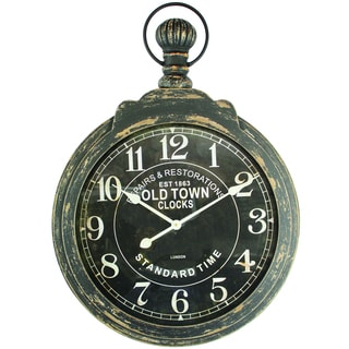 Yosemite Home Decor Iron Frame Wall Clock with Ring and Glass Lens