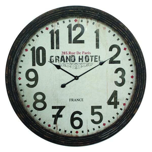 Circular MDF Wall Clock Distressed Black Frame