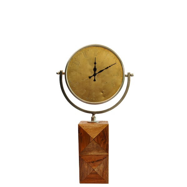 Contemporary Circular Clock with Wooden Stand