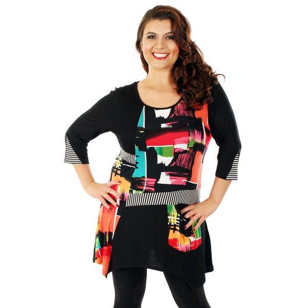 Firmiana Women's Plus Size Black/ Multi 3/4 Sleeve Side Tail Top