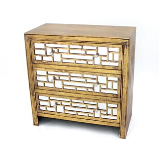 Gold Distressed Wood Cabinet with Mirror