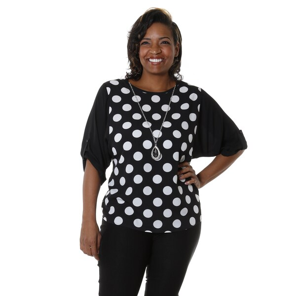 Hadari Women's Plus Polka Dot Scoop Neck Blouse