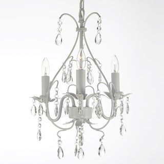Gallery Wrought Iron and Crystal Swag Plug-in 3-light White Chandelier