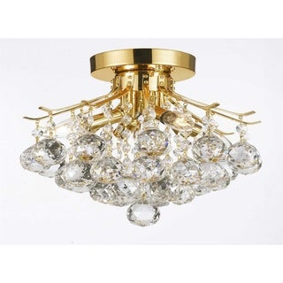 Empire Crystal 4 Light Flush Chandelier Gold