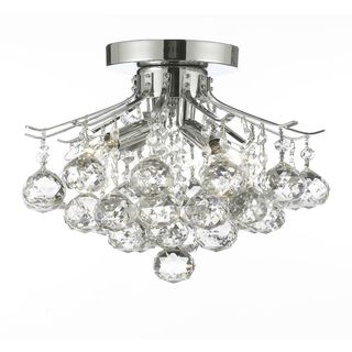 Empire Crystal 4 Light Flush Chandelier Silver/Chrome