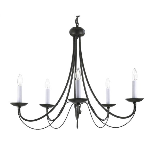 Versailles Swag Plug-in Wrought Iron 5-light Chandelier