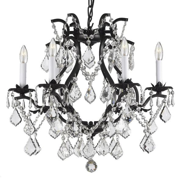 Gallery Versailles Wrought Iron And Crystal Swag Plug In Six Light Chandelier Free Shipping