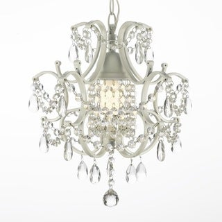 Versailles Wrought Iron and Crystal Swag Plug-in White Mini Chandelier