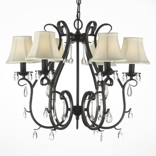 Gallery Wrought Iron and Crystal 6-light Swag Plug-in Chandelier
