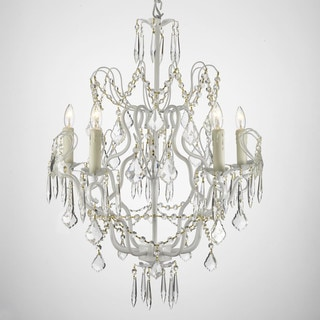Gallery Versailles Wrought Iron and Crystal Swag Plug-in 5-light White Chandelier