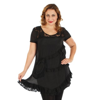 Firmiana Women's Plus Size Black Short Sleeve Lace Top