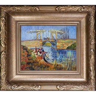 Vincent Van Gogh Langlois Bridge at Arles with Women Washing Hand Painted Framed Canvas Art