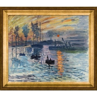Claude Monet Impression, Sunrise Hand Painted Framed Canvas Art
