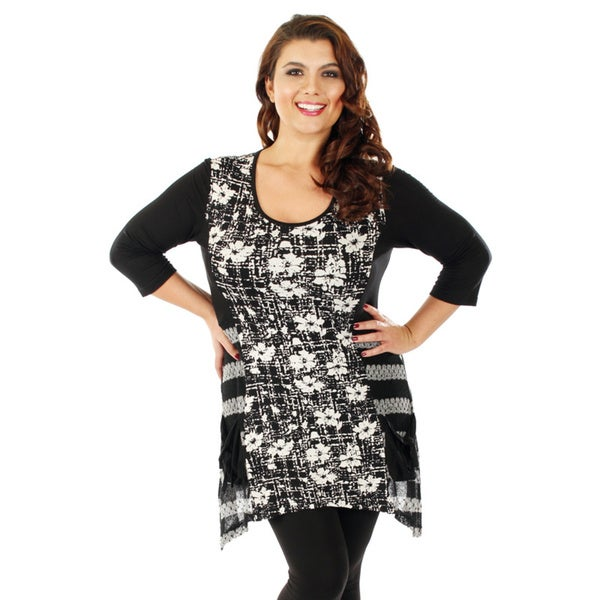 Firmiana Woman's Plus Size 3/4 Sleeve Black/ Grey Floral Top