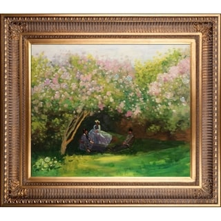 Claude Monet Resting Under the Lilacs Hand Painted Framed Canvas Art