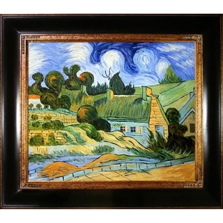 Vincent Van Gogh Thatched Houses in Cordville Hand Painted Framed Canvas Art
