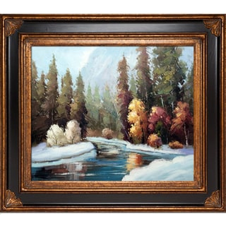 Brenda Thour Winter Landscape Hand Painted Framed Canvas Art