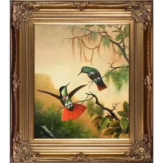Martin Johnson Heade Two Hooded Visorbearer Hummingbirds Hand Painted Framed Canvas Art