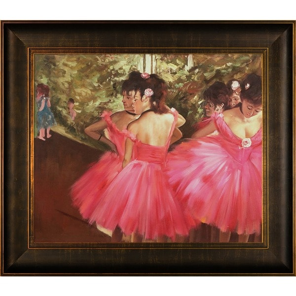 Edgar Degas Dancers in Pink Hand Painted Framed Canvas Art 15050948