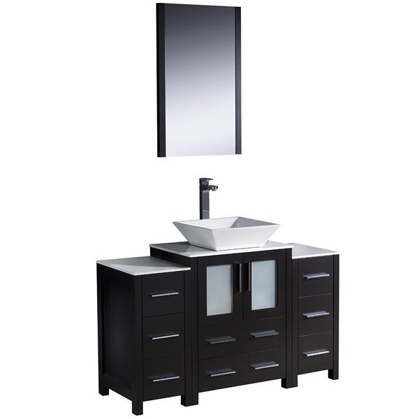 inch grey oak modern bathroom vanity w 2 side cabinets vessel sink
