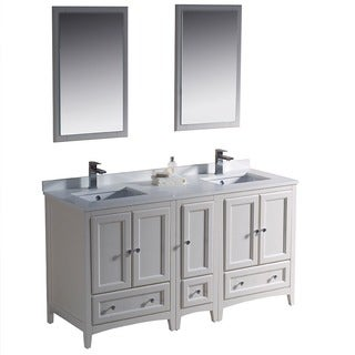"Fresca Oxford 60"" Antique White Traditional Double Sink Bathroom Vanity w/ Side Cabinet"