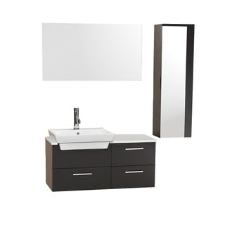 Fresca Caro Espresso Modern Bathroom Vanity w/ Mirrored Side Cabinet