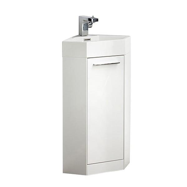 fresca coda 14 inch white modern corner bathroom vanity