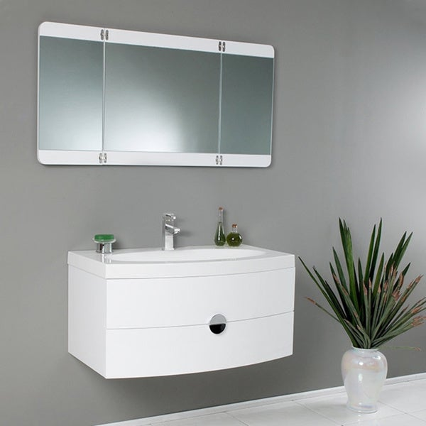 Fresca Energia White Modern Bathroom Vanity W Three Panel Folding
