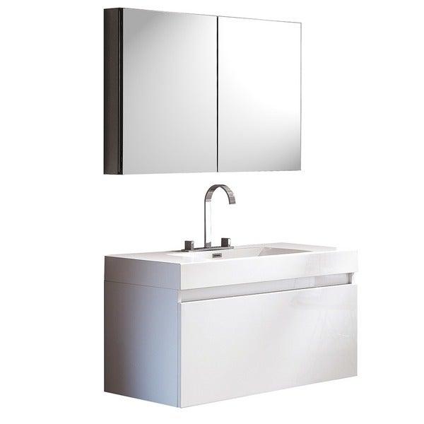 Fresca Mezzo White Modern Bathroom Vanity W Medicine Cabinet