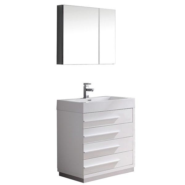 fresca livello 30 inch white modern bathroom vanity medicine cabinet
