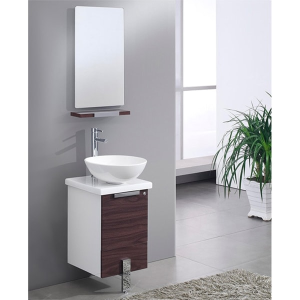"Fresca Adour 16"" Light Walnut Modern Bathroom Vanity w/ Mirror"