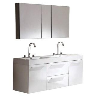 Fresca Opulento Gray Oak Modern Double Sink Bathroom Vanity w/ Medicine Cabinet