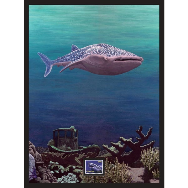Whale Shark Framed Wall Art with Postage Stamp