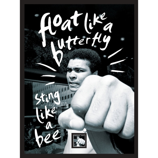 "Muhammad Ali ""Float Like a Butterfly, Sting Like a Bee"" Framed Wall Art with Postage Stamp"
