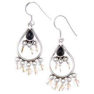 Sterling Silver Spring Delight Beaded Drop Earrings Amythest and Citrine by Mela Artisans Sterling Silver Earrings