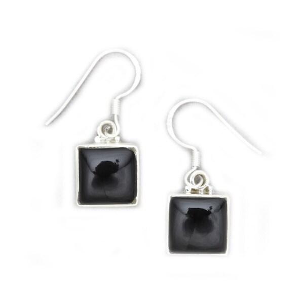 Modern Swing Drop Sterling Silver Onyx Inlay Earrings by Mela Artisans Sterling Silver Earrings