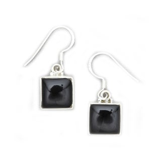 Modern Swing Drop Sterling Silver Onyx Inlay Earrings by Mela Artisans Sterling Silver Earrings